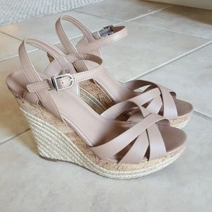 Charles David Nude Wedge Sandals Size 7